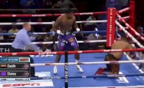 A nehézsúlyú bokszoló akkorát kapott, hogy kizuhant a ringből