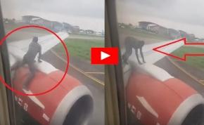 A repülő szárnyán mászott egy férfi, ott akart utazni – videó