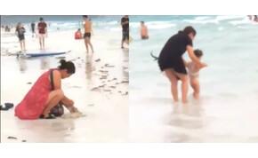 Elásott egy pelenkát a homokba, le kellett zárni a strand egy részét – video