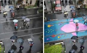 Ha elered az eső, gyönyörű festmények jelennek meg az utcákon – fotó