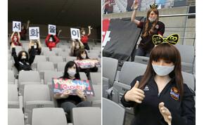 """Guminők """"őrjöngtek"""" egy dél-koreai focimeccsen"""