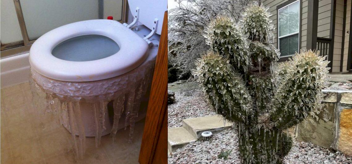 Lefagyott kaktuszok és vécék: sokkoló fotók a jégbefagyott Texasról